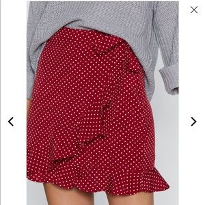 Red nasty gal wrap skirt